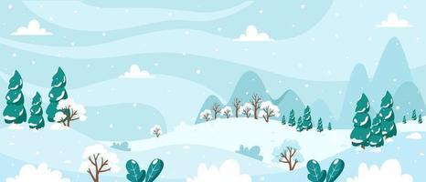 paisagem de inverno nevado com árvores, montanhas, campos vetor