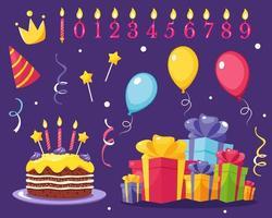 conjunto de elementos de design de festa de aniversário balões presentes velas bolo vetor