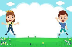 garoto bonito garoto e garota feliz vestindo uma roupa linda, pulando no fundo do jardim e comemorando com flores do céu vetor
