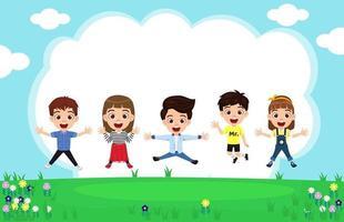 Garoto fofo feliz, meninos e meninas, vestindo uma roupa linda, pulando no fundo do jardim e comemorando com a flor do céu vetor