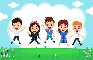 feliz fofo garoto meninos e meninas vestindo roupas lindas, pulando no fundo do jardim comemorando vetor