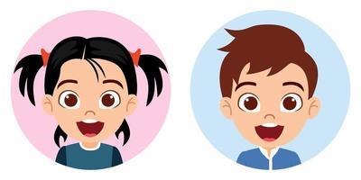 avatar de personagem de menino e menina criança fofa feliz definido em fundo branco colorido vetor
