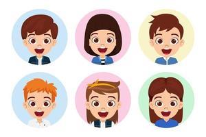 avatar de personagem de menino e menina feliz fofo definido em fundo branco isolado vetor