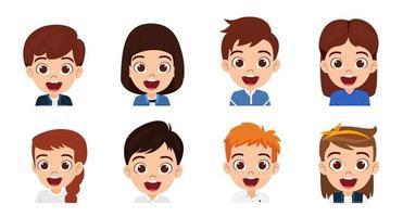 coleção de conjuntos de avatar de personagem de menino e menina feliz criança fofa vetor