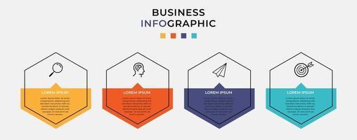 modelo de negócio de design de infográfico de vetor com ícones e 4 opções ou etapas
