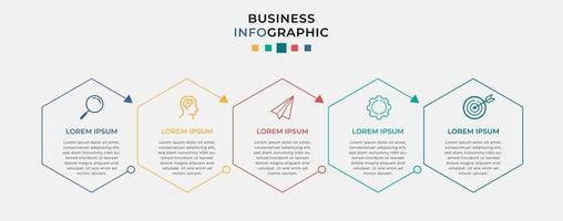 modelo de negócio de design de infográfico de vetor com ícones e 5 opções ou etapas