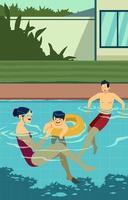 família feliz se divertindo na piscina vetor