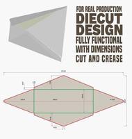 linhas de corte e molde envelope design de embalagem preparado e pronto para a produção de papelão real vetor