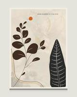 fundos de ilustração vetorial de arte de linha botânica abstrata minimalista moderna com cena de arte de linha botânica adequada para livros, capas, brochuras, folhetos, publicações, pôsteres, etc. vetor