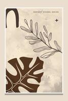 fundo abstrato botânico mínimo moderno adequado para impressão como uma pintura decoração de interiores postagens sociais folhetos capas de livros vetor