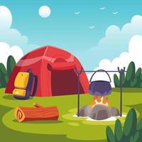 acampamento no conceito de verão vetor