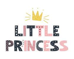 letras cinza e rosa pequena princesa em estilo doodle em fundo branco decoração de imagem vetorial para crianças pôsteres, cartões postais, roupas e decoração de interiores vetor