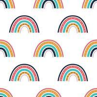 um arco-íris multicolorido brilhante em um fundo branco vetor padrão sem emenda decoração de papel de parede para crianças pôsteres, cartões postais, roupas e decoração de interiores