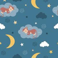 um macaco fofo dorme em uma nuvem ao lado da lua e das estrelas vetor padrão sem emenda em um estilo plano em um fundo azul decoração para crianças pôsteres cartões postais roupas e decoração de interiores