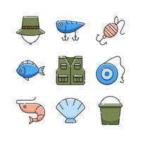 desenho de conjunto de ícones de pesca vetor
