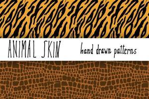 pele de animal textura desenhada à mão vetor padrão sem emenda conjunto esboço desenho texturas de pele de crocodilo e tigre