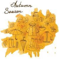 estação de outono definir elementos de doodles conjunto desenhado à mão com guarda-chuvas xícara de chá quente chuva botas de borracha roupas e folhas coleção desenho coleção doodle em mancha de aquarela vetor