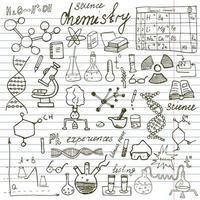 elementos de química e ciência doodles ícones conjunto esboço desenhado à mão com microscópio fórmulas experimentos equipamentos análise ferramentas ilustração vetorial no papel do caderno vetor