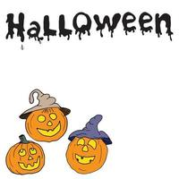 esboço de rabiscos de abóbora de halloween com letras cartão de ilustração vetorial desenhada à mão vetor