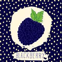 blackberry desenhado à mão frutas esboçadas com folha em fundo azul com padrão de pontos doodle vetor blackberry para logo label identidade de marca