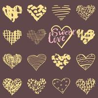 mão desenhada corações símbolos e letras para o dia dos namorados esboçou elementos de doodle para convites de casamento cartões de álbum de recortes cartazes embrulhos de presente vetor
