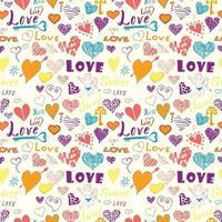 dia dos namorados elementos desenhados à mão padrão sem emenda esboçado elementos do doodle corações símbolos e letras para convites de casamento cartões de álbum de recortes cartazes embrulhos de presente vetor