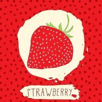 morango desenhado à mão fruta esboçada com folha em fundo vermelho com padrão de pontos doodle vetor morango para logo label identidade de marca