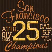 tshirt impressão design tipografia gráficos verão ilustração vetorial distintivo apliques etiqueta san francisco esporte sinal vetor