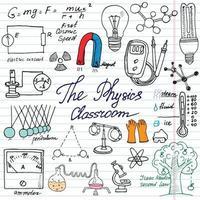 elementos de física e ciência doodles ícones conjunto esboço desenhado à mão com fórmulas de microscópio experimentos equipamentos análise ferramentas ímã pêndulo eletricidade ilustração vetorial vetor