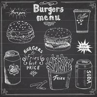menu de hambúrguer esboço desenhado à mão cartaz de fast food com hambúrguer cheeseburger batata palitos lata de refrigerante caneca de café e lata de cerveja ilustração vetorial com letras no quadro-negro vetor