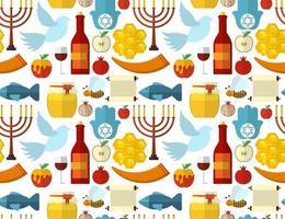 rosh hashanah shana tova ou padrão sem emenda de ano novo judaico com maçã mel, peixe, abelha, garrafa, torá vetor