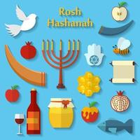 rosh hashanah shana tova ou ícones de vetor plana de ano novo judaico com maçã mel, peixe, abelha, garrafa, torá e outros itens tradicionais