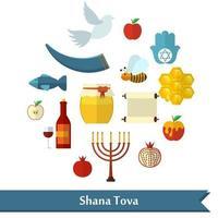 rosh hashanah shana tova ou ícones de vetor plano de ano novo judaico definidos com mel maçã peixe abelha garrafa torá e outros itens tradicionais em formato redondo