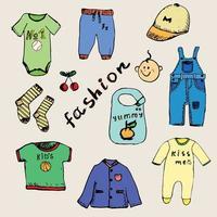 roupas para menino conjunto desenho desenhado à mão colorido e delineado vetor