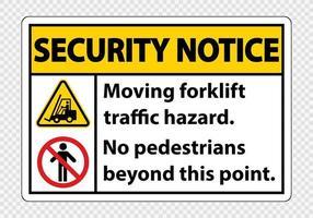 perigo de tráfego de empilhadeira em movimento sem pedestres além deste símbolo de ponto vetor