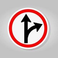 siga em frente ou vire o sinal de trânsito à direita vetor