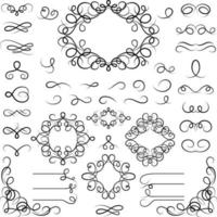 conjunto de elementos de design caligráfico ondulados vetor