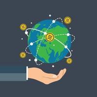 empresário segurando a mão do gráfico de crescimento do conceito da moeda globo libra segurando bitcoin girando ao redor do mundo vetor