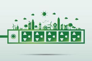 conceito de energia para salvar o mundo, plugue de energia ecologia verde vetor