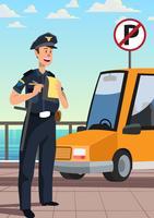 Policial está escrevendo um bilhete de estacionamento ilegal vetor