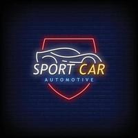 vetor de texto de estilo de sinais de néon automotivo carro esporte
