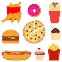 conjunto de ícones de design plano colorido de fast food vetor