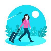 Mulheres de viajante solitário com fundo de mala vetor