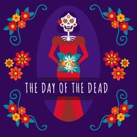 Caveira mexicana dia da menina do fundo morto vetor