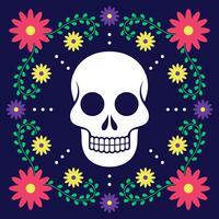 Dia do cartão morto com decoração floral vetor