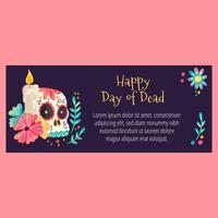 Banner bonito com crânio de açúcar e flores