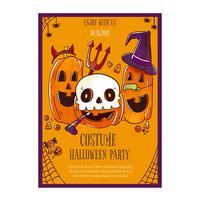Flyer de Halloween bonito com abóboras vetor