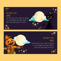 Banners de Halloween em aquarela vetor
