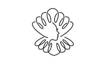simples pérola concha beleza rosto silhueta preto vetor linha logotipo ícone design ilustração plana
