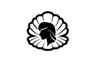 simples pérola concha beleza rosto silhueta preto vetor logotipo ícone design ilustração plana